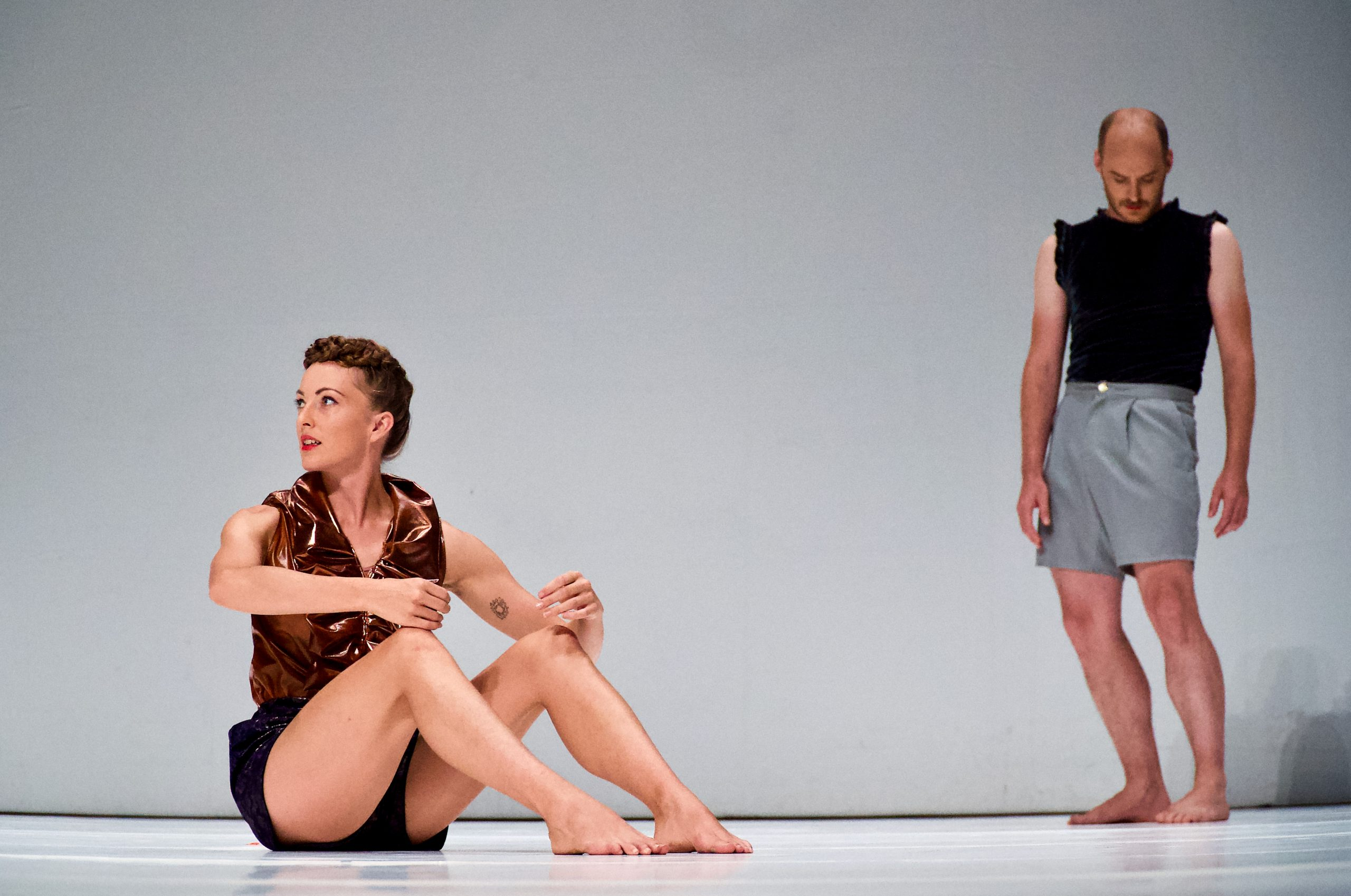 """Artist Jeanne Colin and Piet Defrancq during a preview performance of """"WEG"""" at HAU 1 in Berlin on Aug. 5, 2021."""