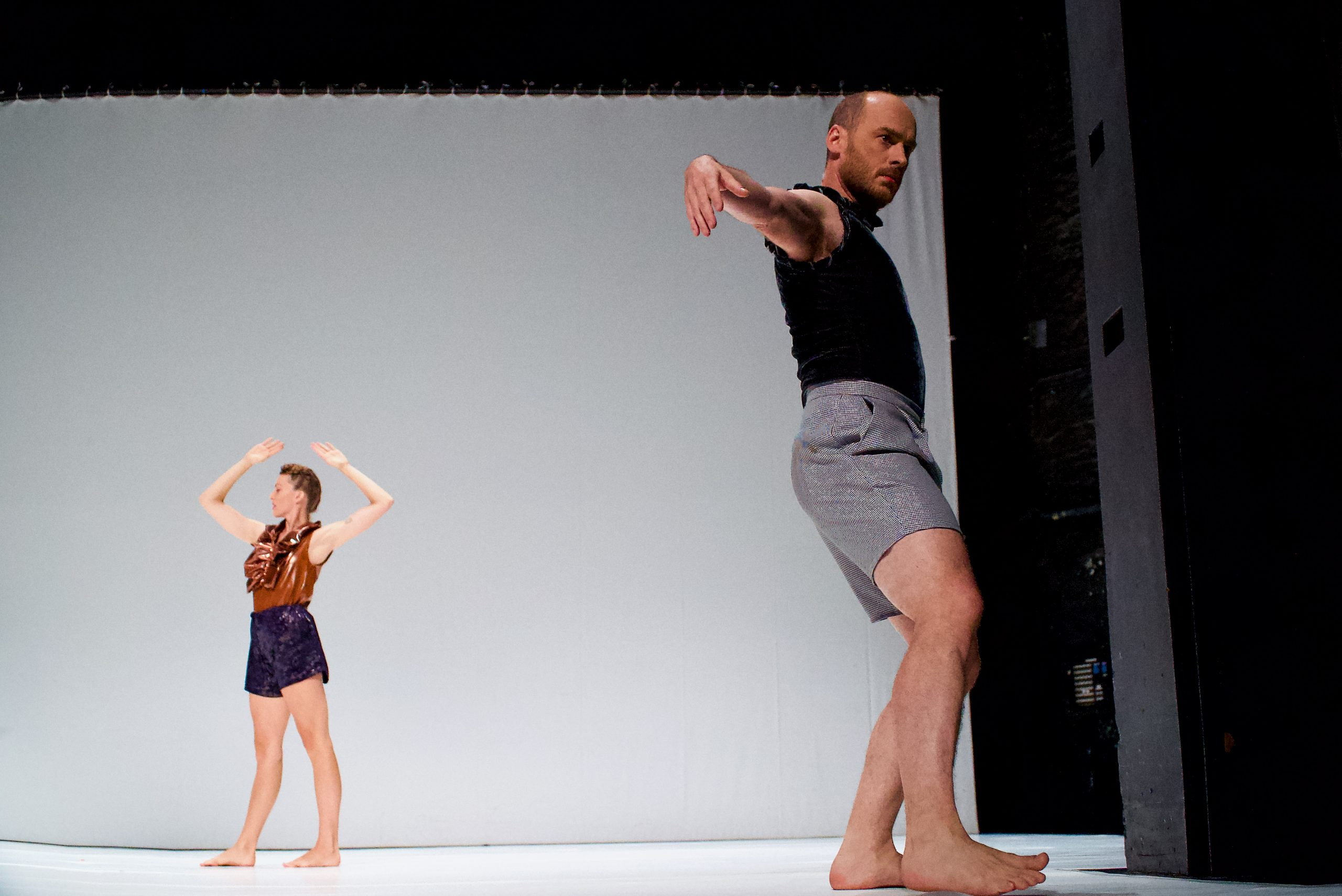 """Piet Defrancq in the foreground and Jeanne Colin in the background during a preview performance of """"WEG."""""""